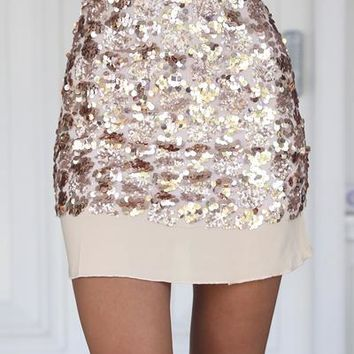 Friday Night Fever Skirt (Rose Gold) | Xenia Boutique | Women's fashion for Less - Fast Shipping