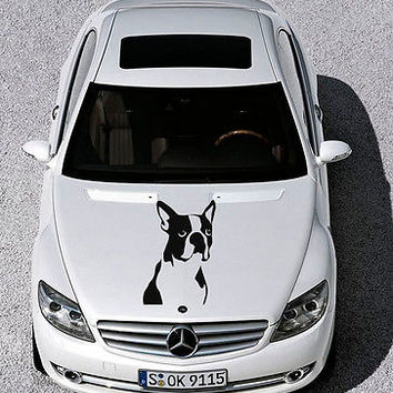 Car Hood Vinyl Decal Graphics Stickers Art Mural Puppy Pets Boston Terrier KJ831