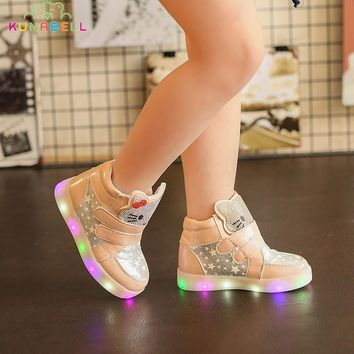 Girls Glowing Sneakers Children Hello Kitty Led Lighted Shoes Kids Spring Autumn Luminous Princess Boots Toddlers Casual Shoes