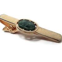 Moss Agate Gemstone Tie Clip, Vintage Tie Clip, Marbled Green Gold Tone, Anson Signed, Mid Century 1960s 60s, Mens Formal Summer Jewelry