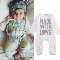 Cotton Newborn Kids Baby Girls Boy Romper Long Sleeve White Cute Playsuit Baby Boys Clothes Outfits Autumn 2016