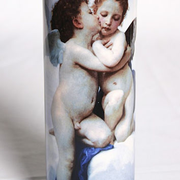 Bouguereau Cupid and Psyche Ceramic Flower Vase 7.75H