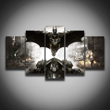 Spray painting Printed movie picture Cool Batman painting on canvas 5 panels wall decor for baby room Canvas art print poster