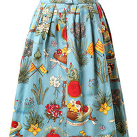 Autumn Print A-Line Pleated Mini Skirt