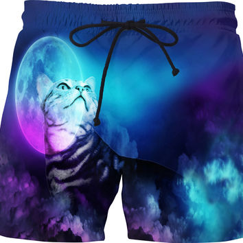 Pandora Silver Bengal Kitty Cat of the Moonlit Night Swim Shorts - DistortionArt