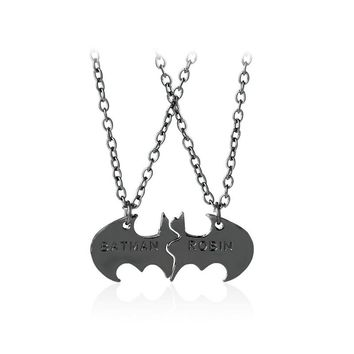 2018 Trendy two halves Batman and Robin Lovers gold silver black color Necklace Best Friends Gift Necklace Jewelry