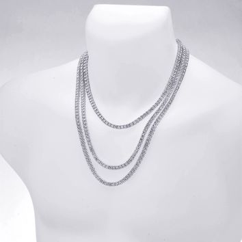 "Jewelry Kay style Men's Gold / Silver Plated Iced Triple Set Tennis Chain Necklace 18"" / 22"" / 24"""