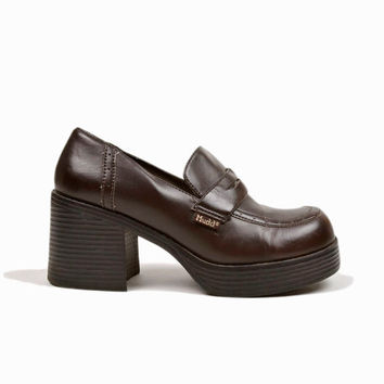 Vintage 90s Platform Penny Loafers / Vegan-Leather Platform Shoes / Mudd Platforms - women's 8