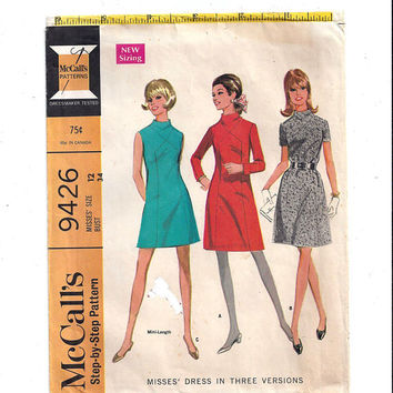 McCall's 9426 Pattern for Misses' Dress in 3 Versions, Size 12, From 1968, 5 Panel Dress, Above Knee, Vintage Pattern, Home Sewing Pattern