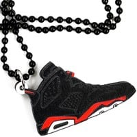 Pendentif Good Wood Sneaker Infrared Black 6's - LaBoutiqueOfficielle.com