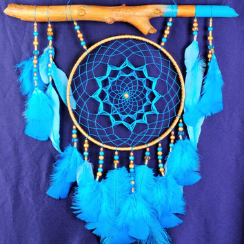 Blue Dream Catcher Large Dreamcatcher Dream сatcher blue dreamcatchers wall decor handmade Boho turquoise dreamcatcher Christmas gift