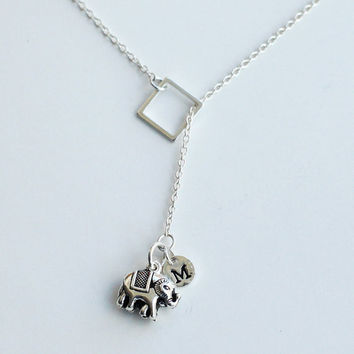 Tiny Sterling Silver Elephant, Personalized Initial Elephant Necklace, tiny elephant, Sterling silver, Tiny silver Square, bridesmaid gifts