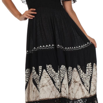 Sakkas Tiva Batik Embroidered Jacquard Off Shoulder Peasant Dress