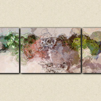 "Extra Large triptych abstract art canvas print, 30x80 gallery wrap, in green and biege, from abstract painting ""More Hipper"""