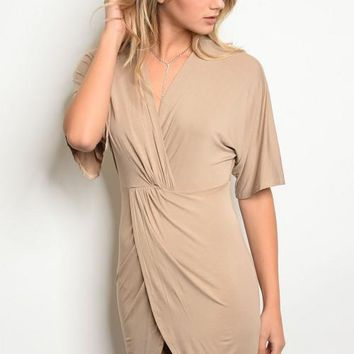 Nude Faux Wrap Tulip Dress