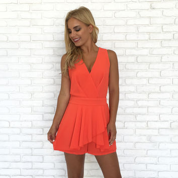 Crossover Romper In Orange