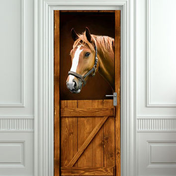 "Door STICKER horse barn stable stall mural decole film self-adhesive poster 30x79""(77x200 cm) /"