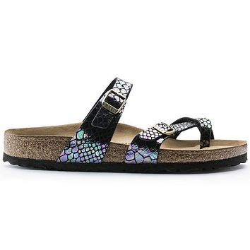 Birkenstock Mayari Birko Flor Shiny Snake Black Multicolor 1005046 Sandals - Ready Sto