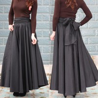 Long Skirts Plus Size Cotton Black A-line Pleated
