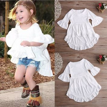 Short Sleeve Baby Girls Child Dress Vintage Grace Dress Solid White Elegant Summer Clothes Girls pretty Top Dress Clothes