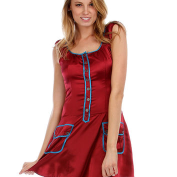 WINE SATIN BUTTON-UP DRESS WITH RUFFLE SLEEVES AND FRONT POCKETS