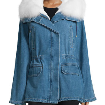 Army by Yves Salomon Light Denim Parka w/Fur Lining