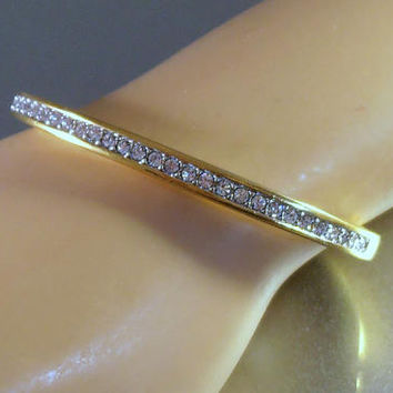 Swarovski Rhinestone Bangle Bracelet, Swan Signed, Channel Set Crystal