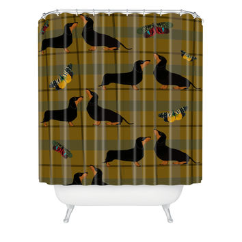 Natt Yellow Tartan And Dachshund Shower Curtain