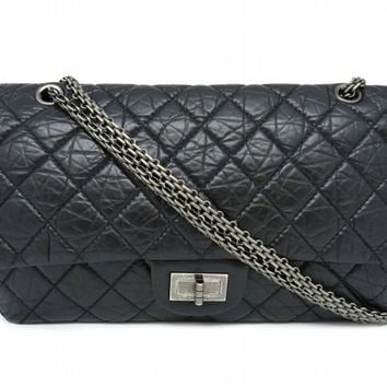 Chanel 2.55 Jumbo Shoulder Bag Quilted Aged Calfskin Black 0500