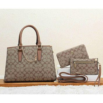 Coach Women Fashion Leather Crossbody Shoulder Bag Satchel Wallet Purse Set Three Piece