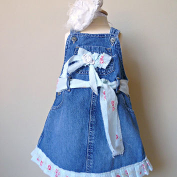 Shabby Girls Denim Jumper. Rustic Refashioned Play Clothes. Boho Prairie Girl. Country Toddler Dress. Vintage Tattered Flower and Ruffles
