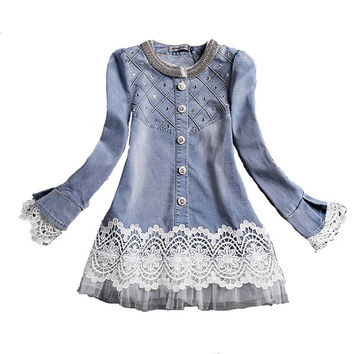 Vintage Denim and Lace Button Down Pullover