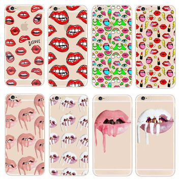 Phone Cases Kylie Jenner Lipstick Lip Cosmetics Transparent Hard PC Case Cover For Apple iPhone 5 5s SE 6 6s 7 Plus