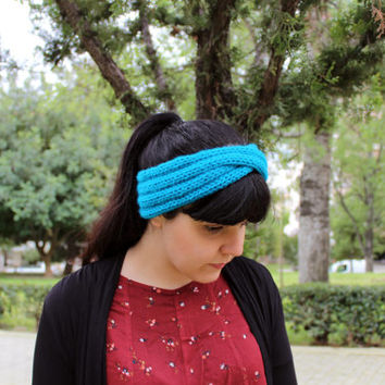 Women's turban, knit turban, wool knit headband, knit headwrap, hand knit earwarmers, blue turban, light blue knit headband, winter headband