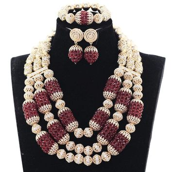 2017 Fabulous Burgundy Wine Nigerian Wedding Crystal Jewelry Sets Women Costume Bride Gold Statement Necklace Set ABH563
