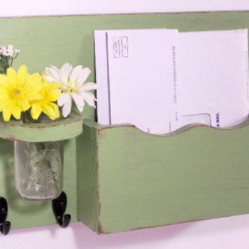 Mail organizer, floral vase, key hooks, mail holder, vintage, sconce, wood, distressed, shabby chic, home decor,painted Baby Blue