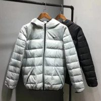 NIKE New fashion bust side hook print hooded thick keep warm sports men long sleeve top coat down jacket