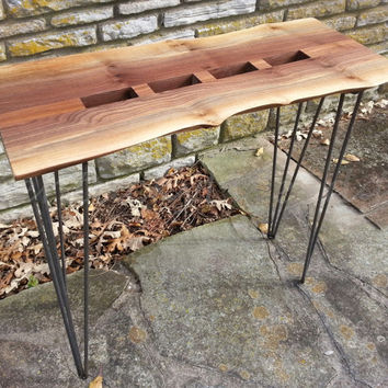 Walnut Console Table, Natural Edges, Sofa Table, Live Edge, Geometric, Artistic Table, Wooden Console Table, Hallway Table, Metal Legs