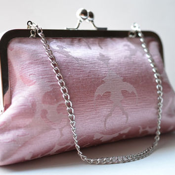 Clutch Frame Kisslock Purse / Mauve Pink Jacquard  / 8 inches Silver Frame Clutch with Chain