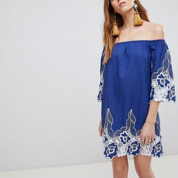 Glamorous Off Shoulder Mini Shift Dress With Contrast Floral Lace at asos.com
