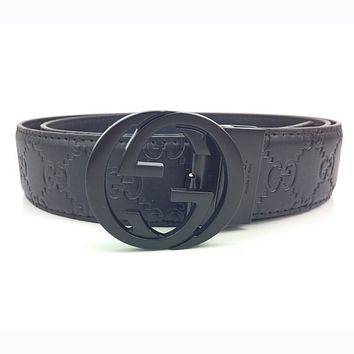 GUCCI Fashionable Men Women Smooth Buckle Leather Belt Black