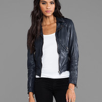 Muubaa Sabi Biker Jacket in Navy