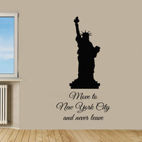 NYC Wall Decals Quote Statue Of Liberty New York City Vinyl Decal Sticker Art Mural Home Interior Design Kids Room Wall Decor KG562