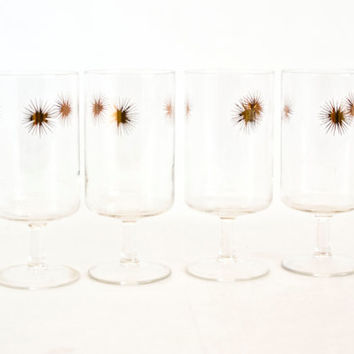 Vintage Atomic Sunburst Goblets, Gold Starburst Set of 4 Cocktail Wine Glasses, Mid Century Barware Tablescapes
