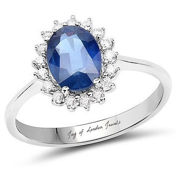 Ethically Mined 14K White Gold 1.5CT Oval Cut Blue Sapphire & White Diamond Halo Engagement Ring