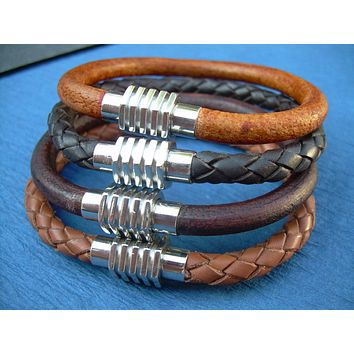Mens Leather Cuff Bracelet with Stainless Steel Magnetic Sprocket Style Clasp