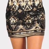 Risky Business Sequin Skirt - Black