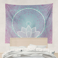 Lotus Mandala Flower Tapestry Wall Hanging