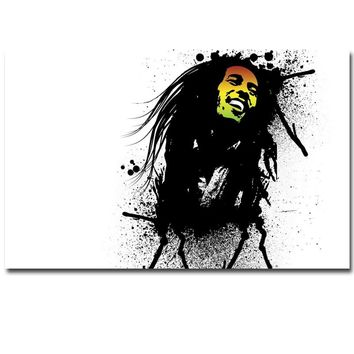 BOB MARLEY Smile Face With Shirts Canvas Painting Abstract Portrait Painting Wall Art Poster Print Pictures for Home Decor