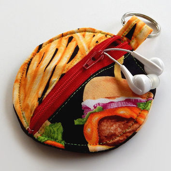 Earbud Holder / Coin Pouch / Fast Food Coin Purse / Burgers & Fries / Burger Accessories / Earbud Case / Ear Bud Holder / Small Pouch